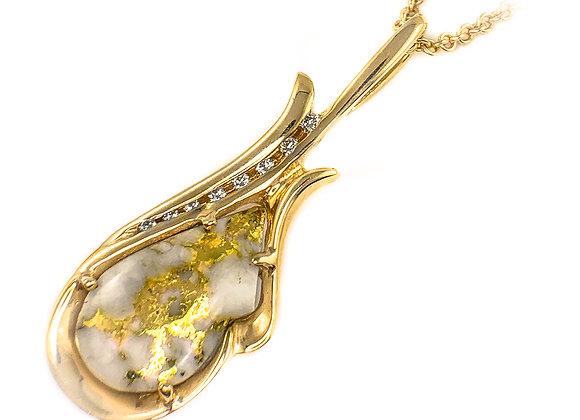 14k gold quartz pendant