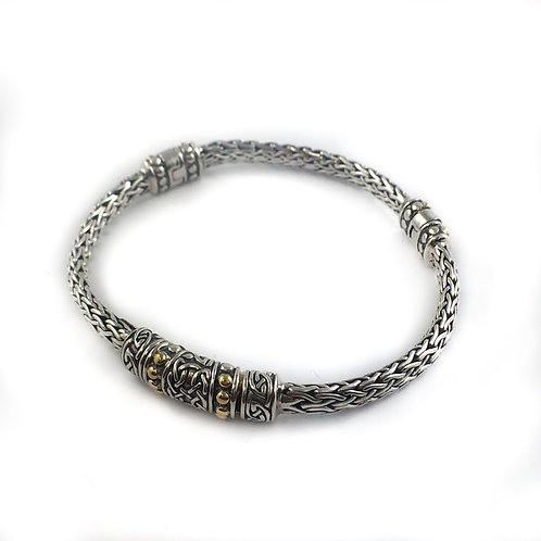 keith jack sterling silver and 18k gold bracelet