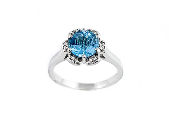 10k blue topaz and diamond ring