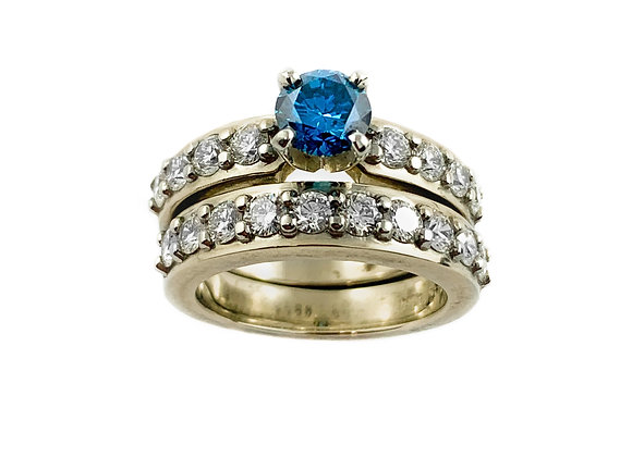 14k 0.77ct blue diamond ring