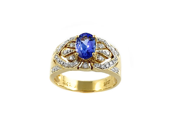 18k tanzanite and diamond estate ring