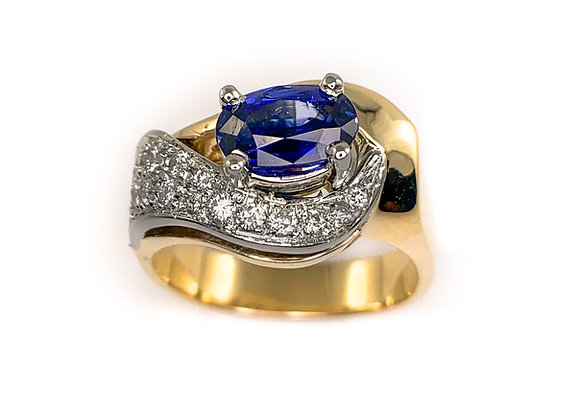 14k 1.50ct sapphire and 0.25ct diamond ring