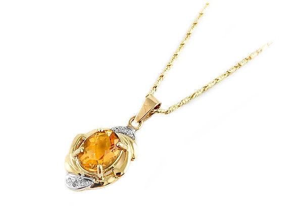 10k estate citrine pendant