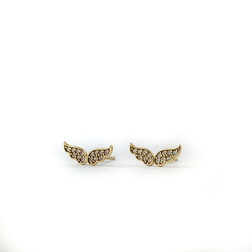10k cubic zirconia wing earrings