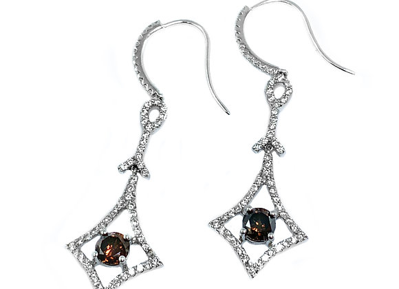 18k 1.04ctw cognac diamond and 0.87ctw diamond earrings