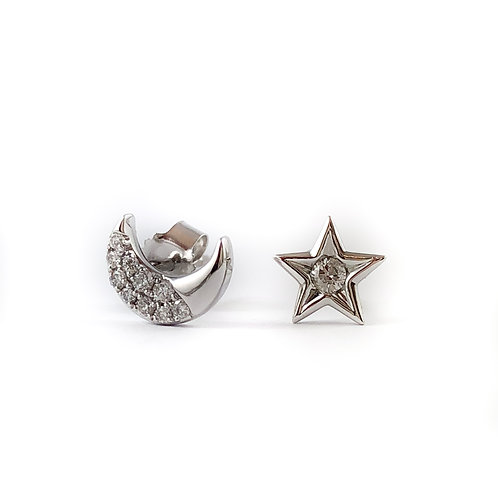 14k moon and star diamond earrings