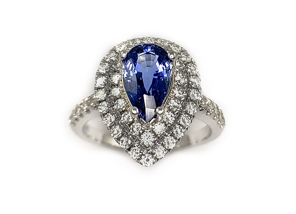 14k 1.61ct sapphire and 0.81ctw diamond ring
