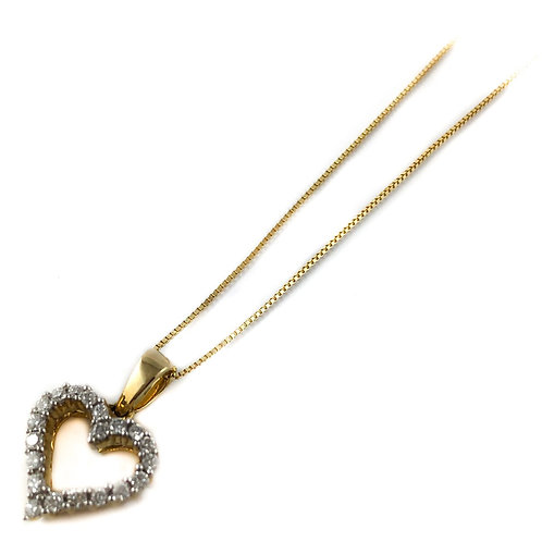 14k 0.25ctw diamond heart pendant