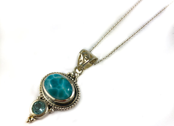 sterling silver larimar and blue topaz pendant