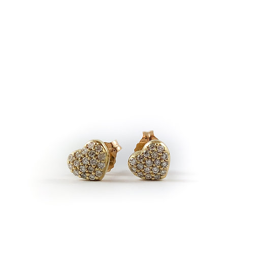 10k 0.18ctw diamond heart earrings