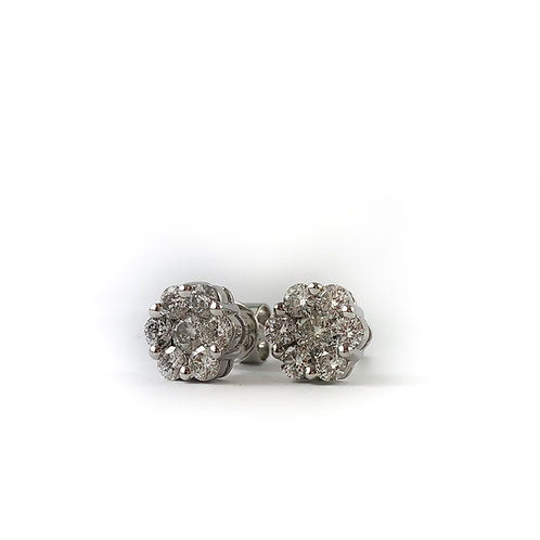 18k 1.02ctw diamond earrings