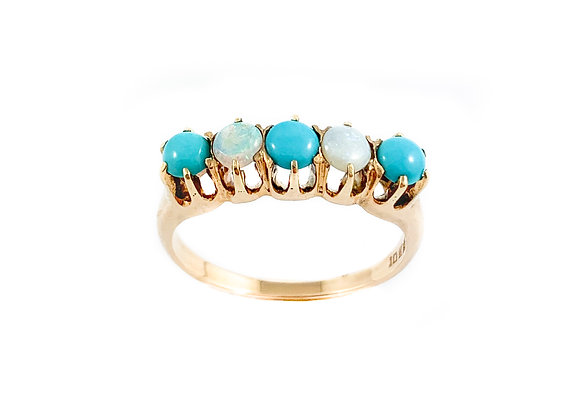 vintage rose gold opal and turquoise ring