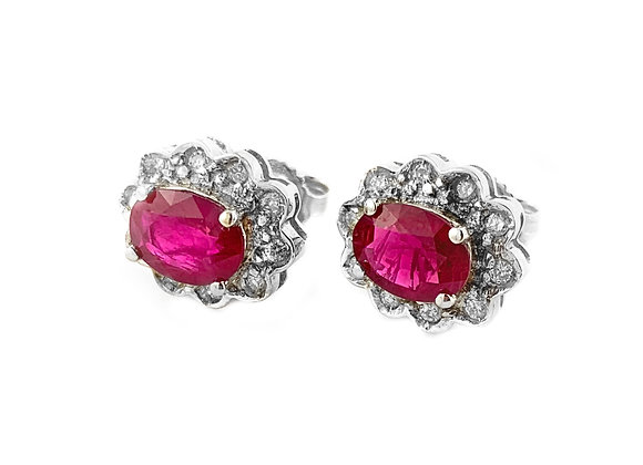 14k 1.65ctw ruby and diamond earrings