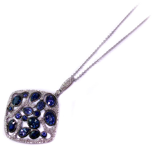 14k 0.93ctw sapphire and 0.42ctw diamond pendant