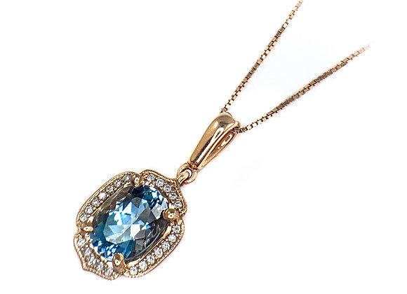 14k 1.18ct aquamarine pendant