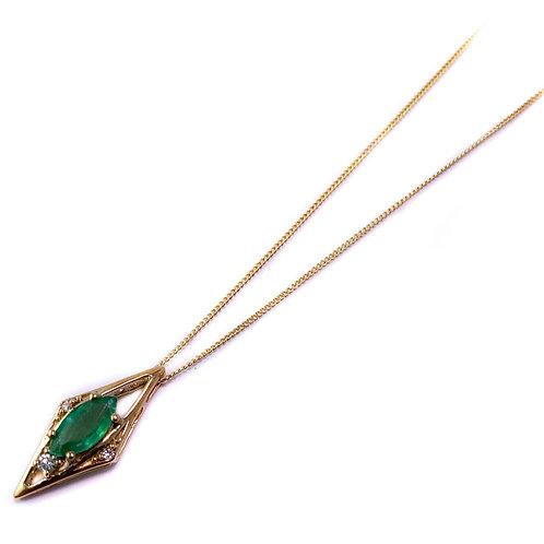 10k emerald and Canadian diamond pendant