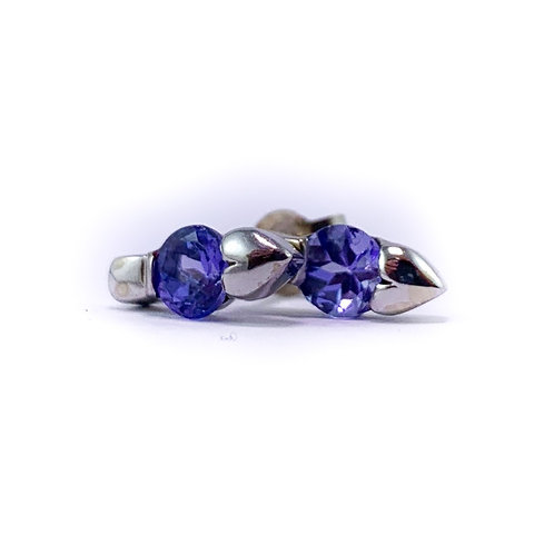 10k blue crystal earrings