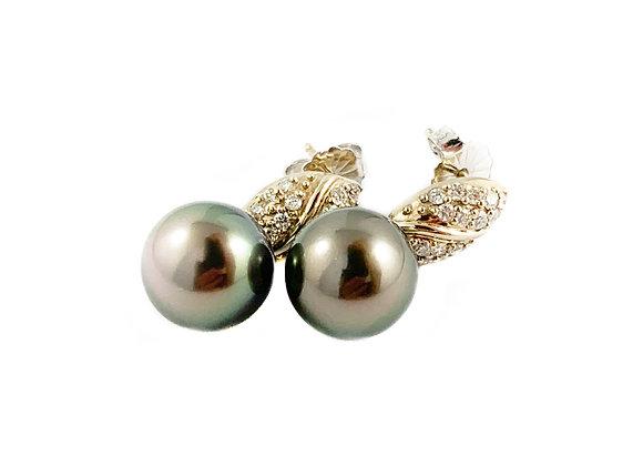 14k Tahitian pearl and 0.36ctw diamond earrings