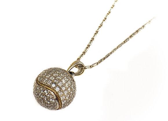 14k diamond tennis ball pendant