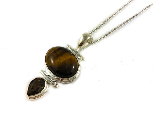 sterling silver smoky quartz and tigers eye pendant