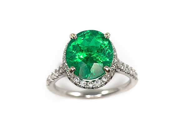 14k emerald and 0.40ct diamond ring