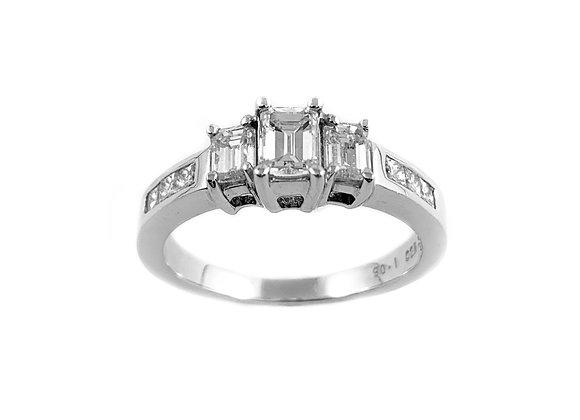 14k 1.00ctw emerald cut diamond ring