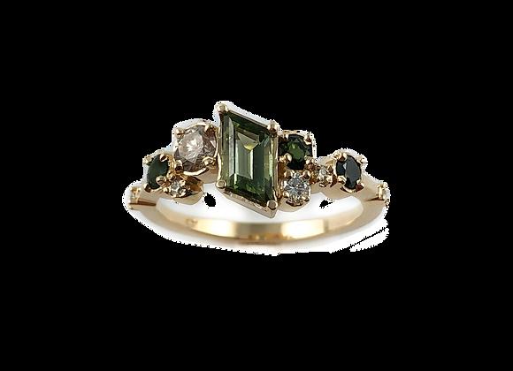 Custom designed tourmaline and black diamond ring