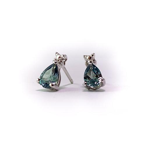 14k created sapphire earrings