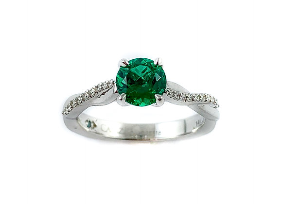 14k .73ct chatham emerald ring