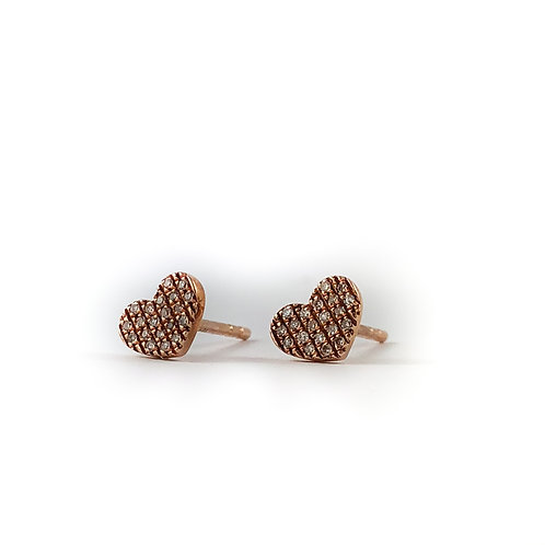 10k rose gold 0.08ctw diamond heart earrings