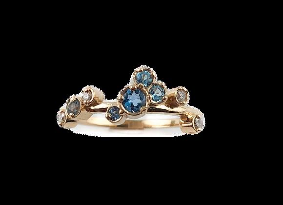 Custom designed aquamarine and blue topaz ring