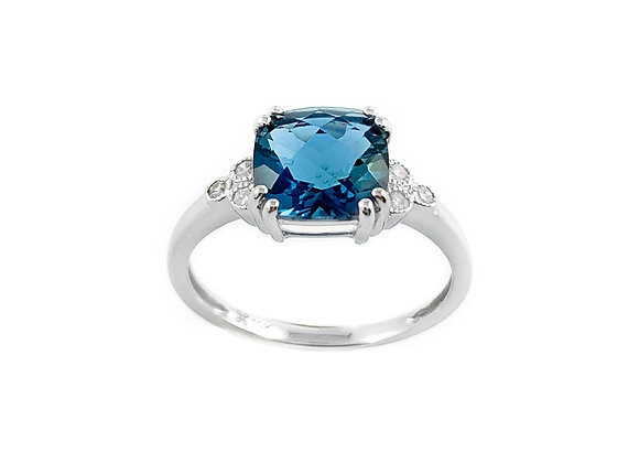 10k blue topaz and diamond ring