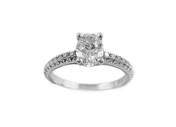 14k 1.00ct oval cut diamond rirng