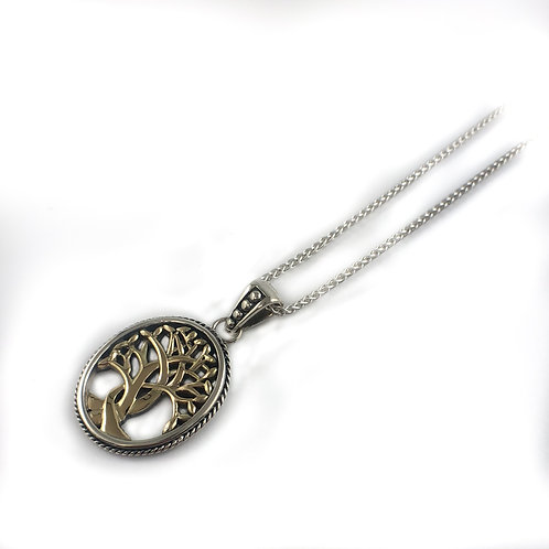keith jack sterling silver and 10k gold tree of life pendant
