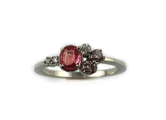 Custom designed sapphire and pink diamond ring