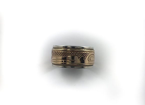 justin rivard sterling silver and 10k gold ring