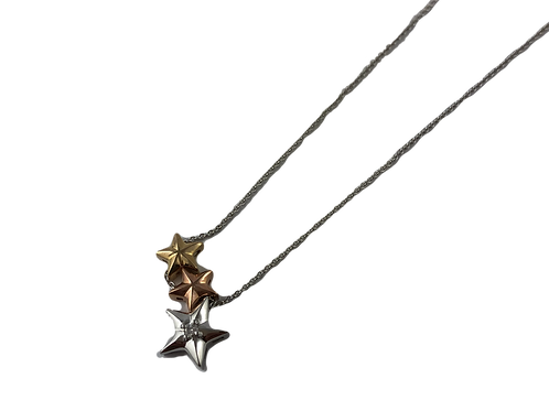 tri-tone star and diamond necklace