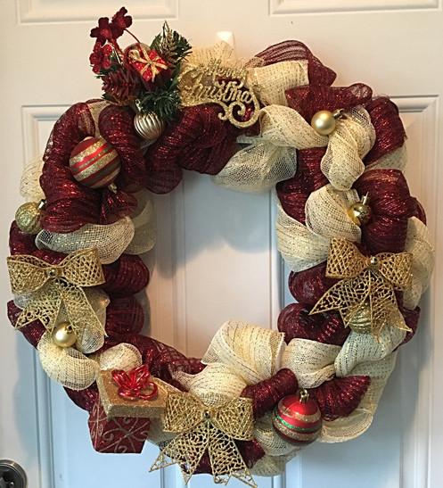 18 Gold Burgundy Christmas Wreath
