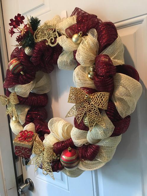 14 Gold Burgundy Christmas Wreath