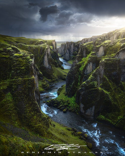 Storms at Fjaðrárgljúfur Canyon