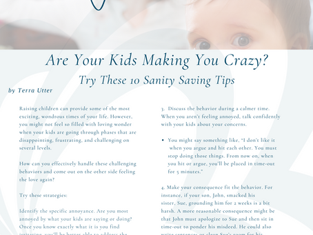 10 Sanity Saving Tips When Your  Kids Are Making You Crazy