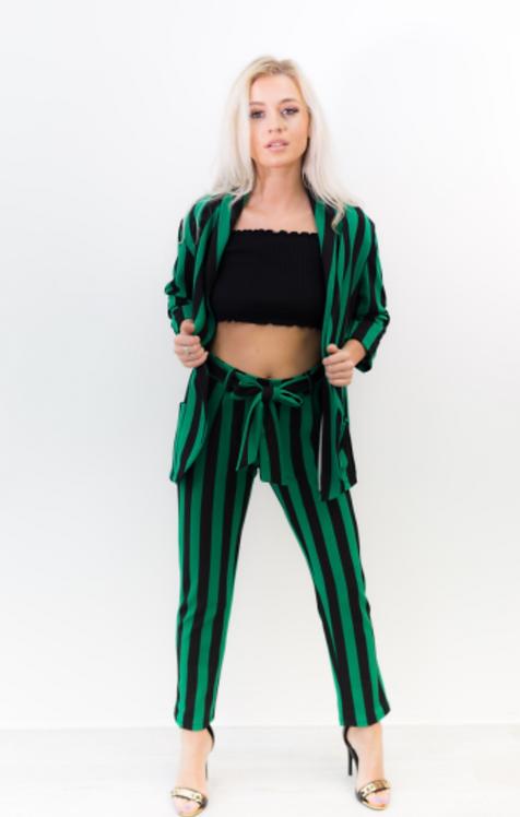 Green Pin Striped Co-ord Set