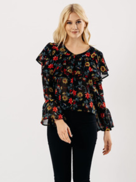 Floral Button Up Bell Blouse