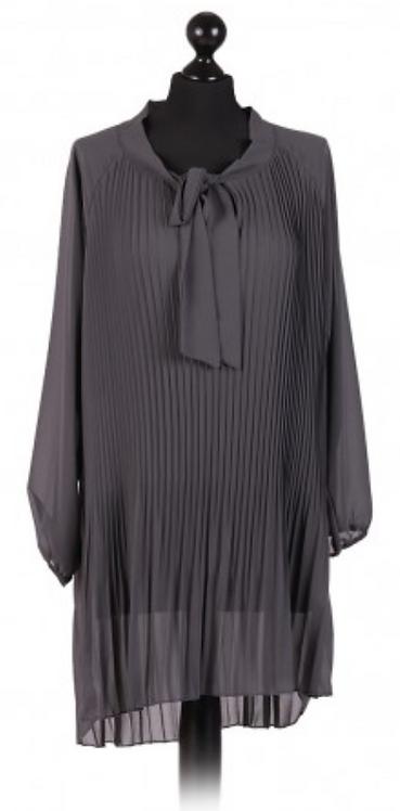 Charcoal Lagenlook Chiffon Dress