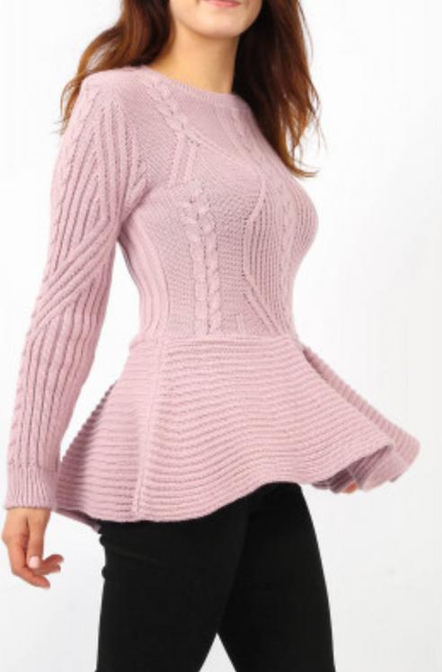 Pink Knitted Peplum Top