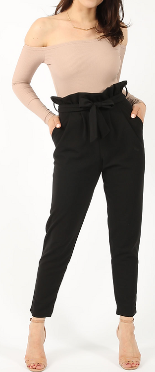 Black Crepe Pleated Trouser