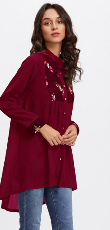 Wine Long Embroidered Shirt