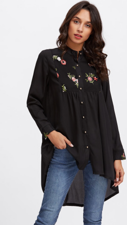 Black Long Embroidered Shirt
