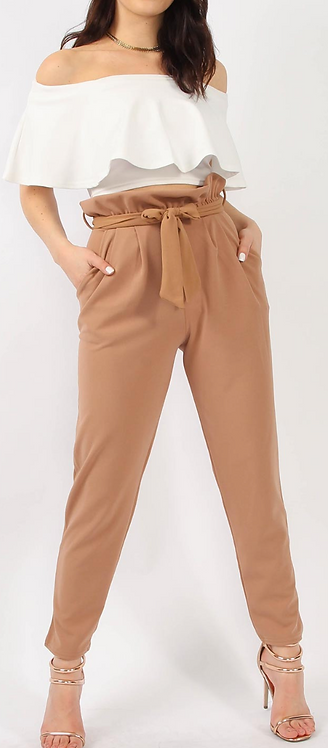 Camel Crepe Pleated Trouser