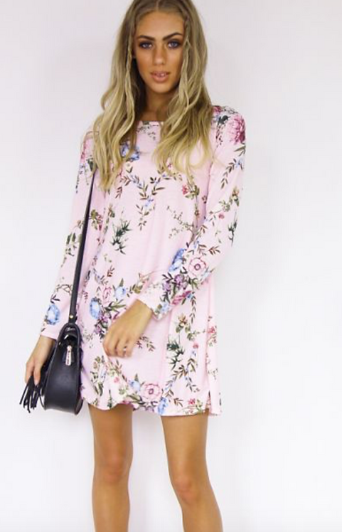 Pink Floral Swing Dress